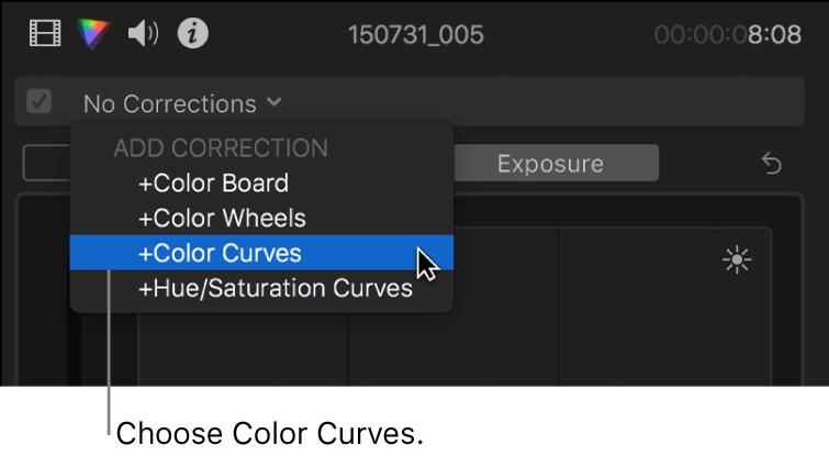 """Auswahl von """"Farbkurven"""" aus dem Bereich """"Korrektur hinzufügen"""" des Einblendmenüs oben im Informationsfenster """"Farbe"""""""