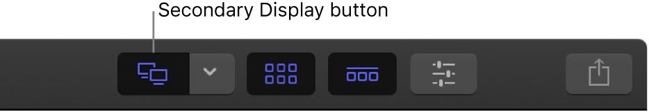 """Die Symbolleiste mit der hervorgehobenen Taste """"Zweites Display"""""""