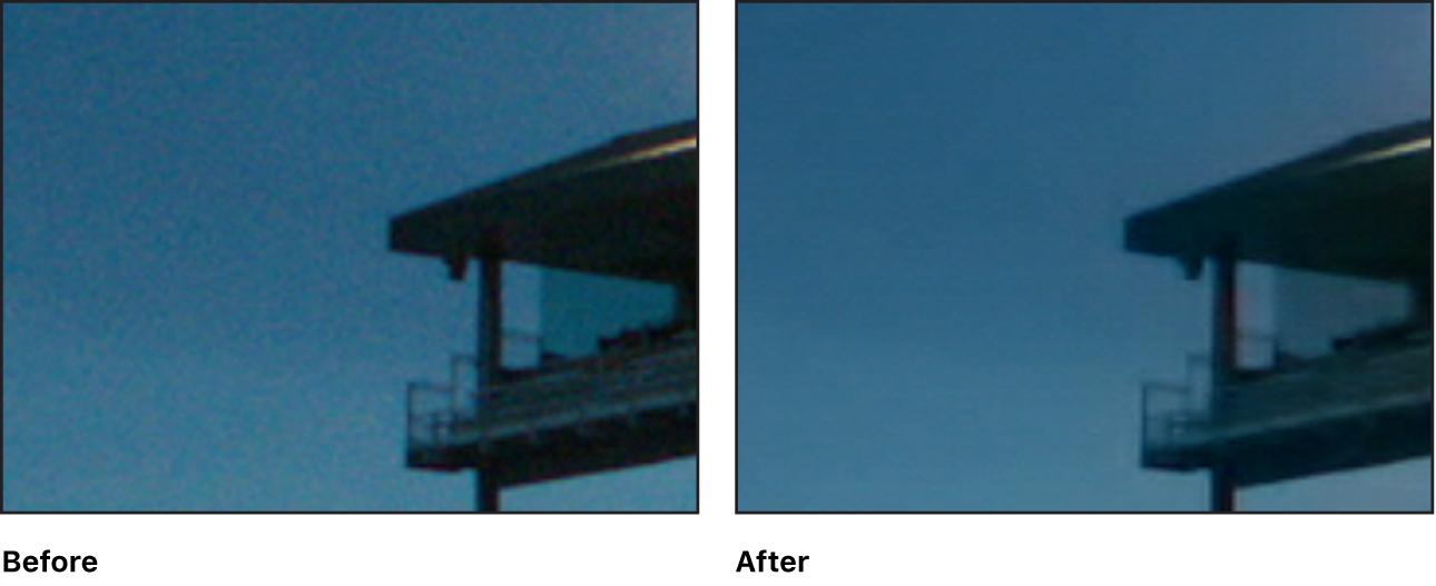 """Detail eines Videobilds vor und nach dem Anwenden des Effekts """"Rauschunterdrückung"""""""