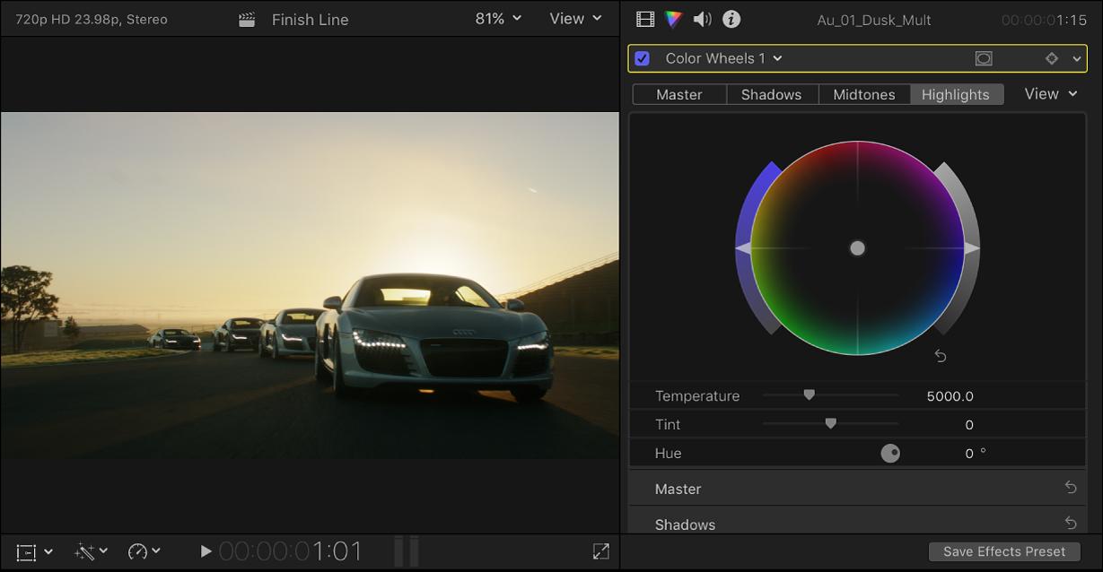 """Der Viewer und das Informationsfenster """"Farbe"""" mit einem Clip, auf den ein Farbkorrektureffekt angewendet wurde"""