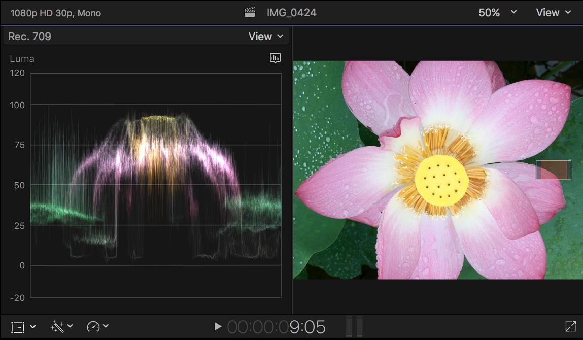 """Der Waveform-Monitor """"Luma"""" links neben dem Viewer"""