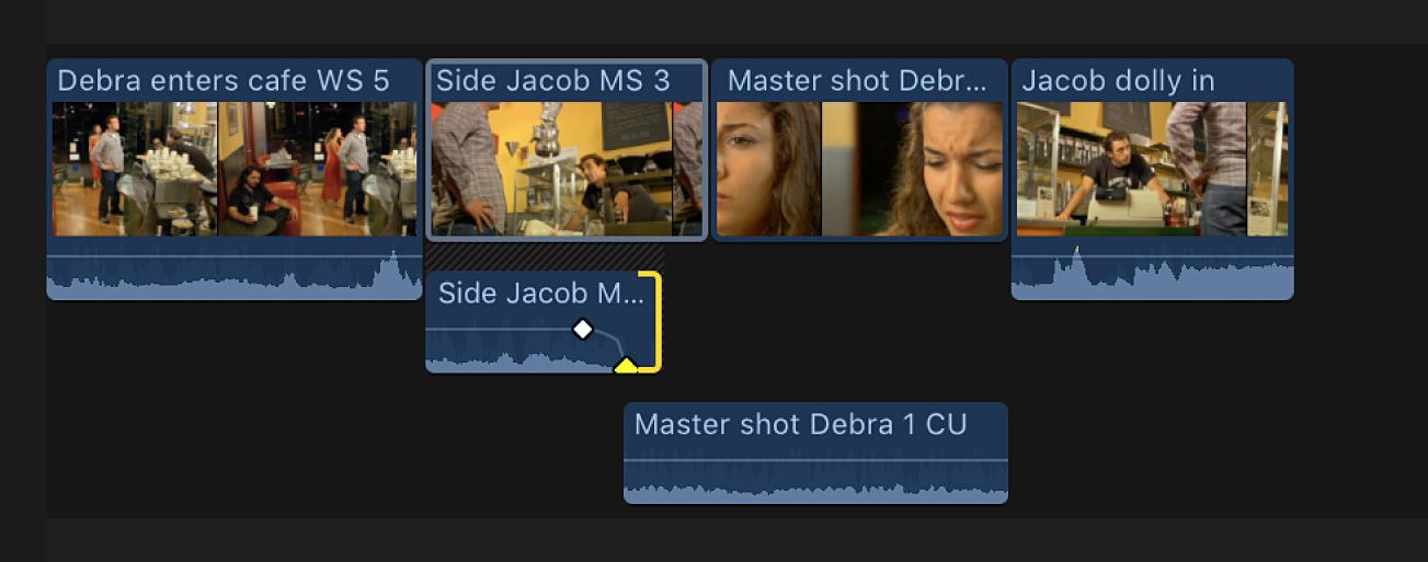 Eine Überblendung wird zum Ende des Audioteils des vorhergehenden Clips hinzugefügt