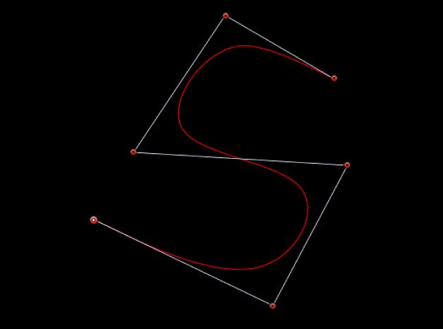 Der Viewer mit einer S-Kurve, die mithilfe von B-Spline-Steuerpunkten erzeugt wurde