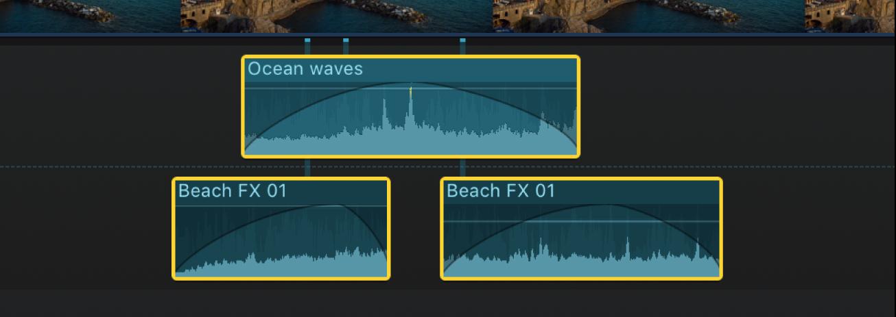 Audioclip mit angewendeten Überblendungen