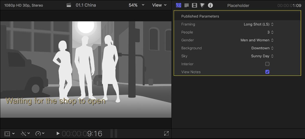 """Der Viewer links mit einem Platzhalterclip mit drei Personen und das Informationsfenster """"Generator"""" rechts mit den Einstellungen für den Platzhalterclip"""