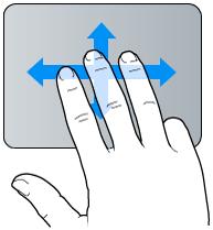 Geste für Streichen mit drei Fingern