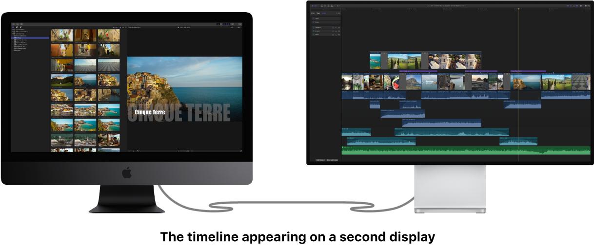 Zweites Display mit angezeigter Timeline