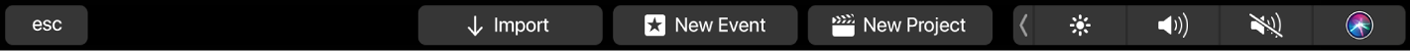 The Touch Bar showing controls for the browser when no clips are selected