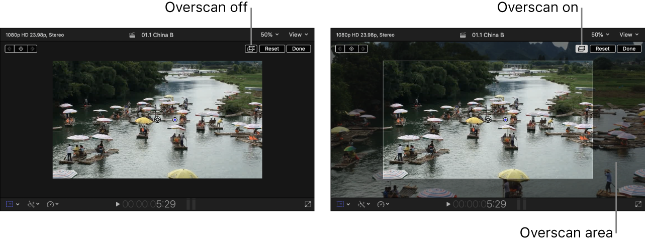 On the right, the viewer with overscan on, showing parts of the image outside of the viewer; on the left, the viewer with overscan off