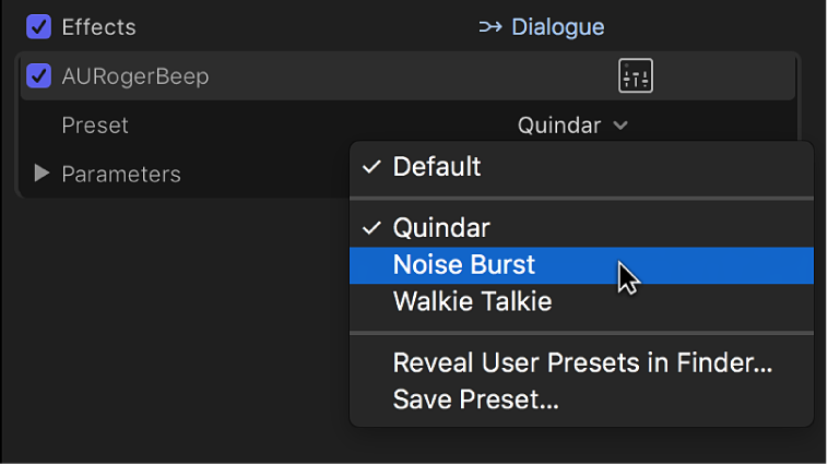 Options in the Preset pop-up menu in the Effects section of the Audio inspector