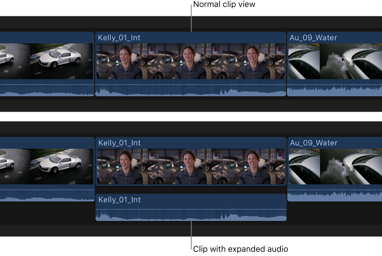 A clip in the timeline before and after its audio components are expanded