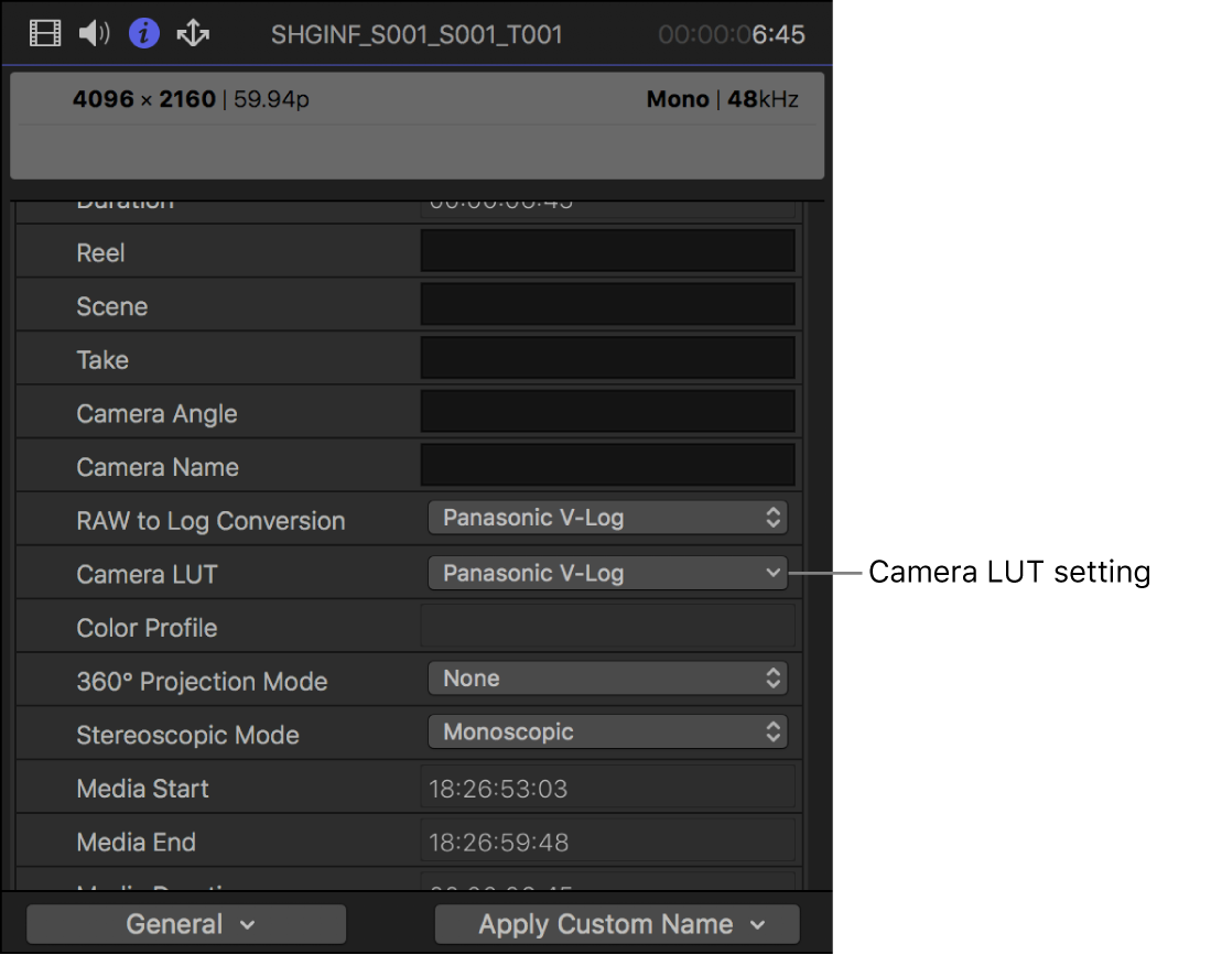 The Info inspector showing the Camera LUT setting available in the General metadata view