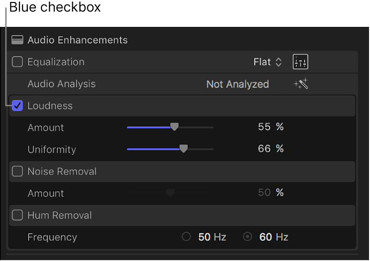 The Audio inspector showing the checkbox for turning an enhancement on or off