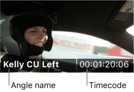 The angle name and timecode shown on an angle