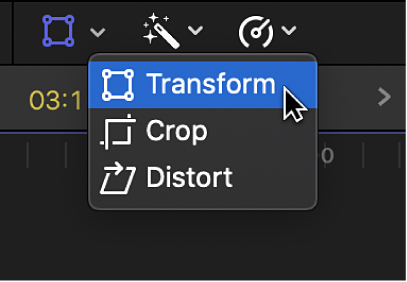 The Transform menu item for accessing Transform controls