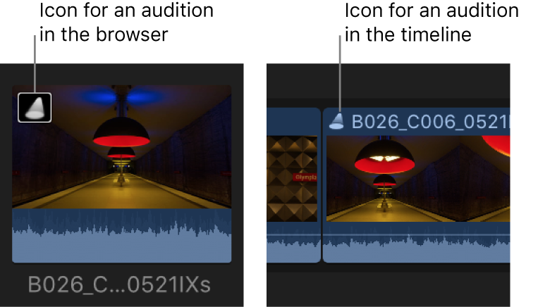 An audition icon on a clip in the browser and on a clip in the timeline