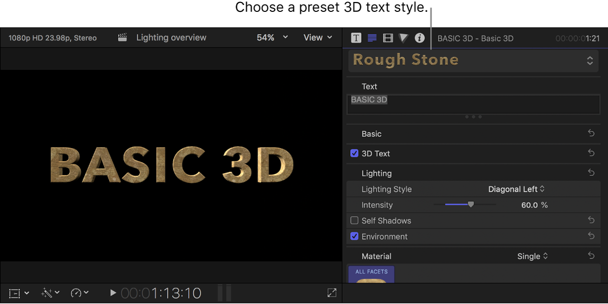 A 3D title in the viewer with the Rough Stone preset text style, and the title's settings shown in the Text inspector