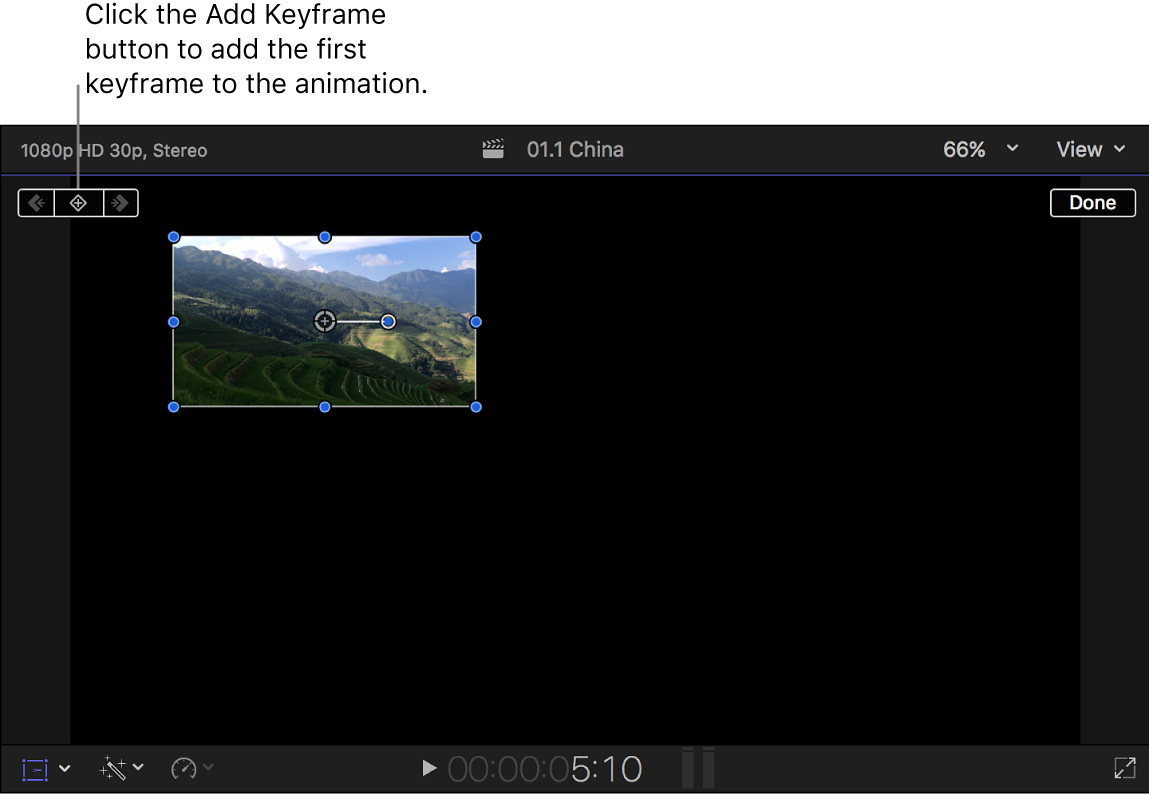 The viewer showing the Transform effect and the Add Keyframe button