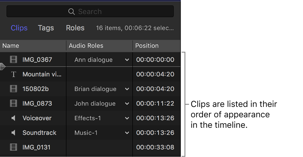 Clips listed in the timeline index
