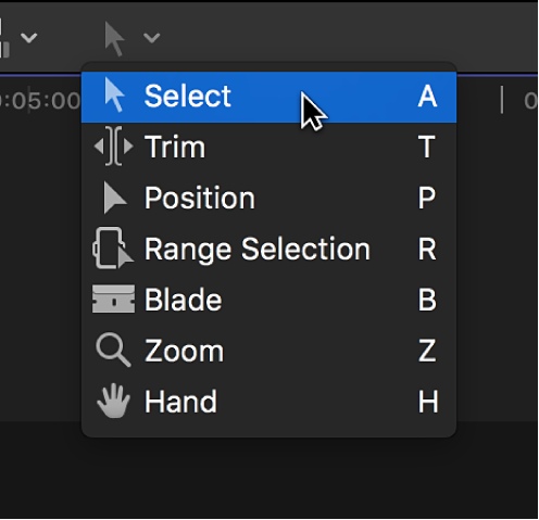 The Select tool in the Tools pop-up menu