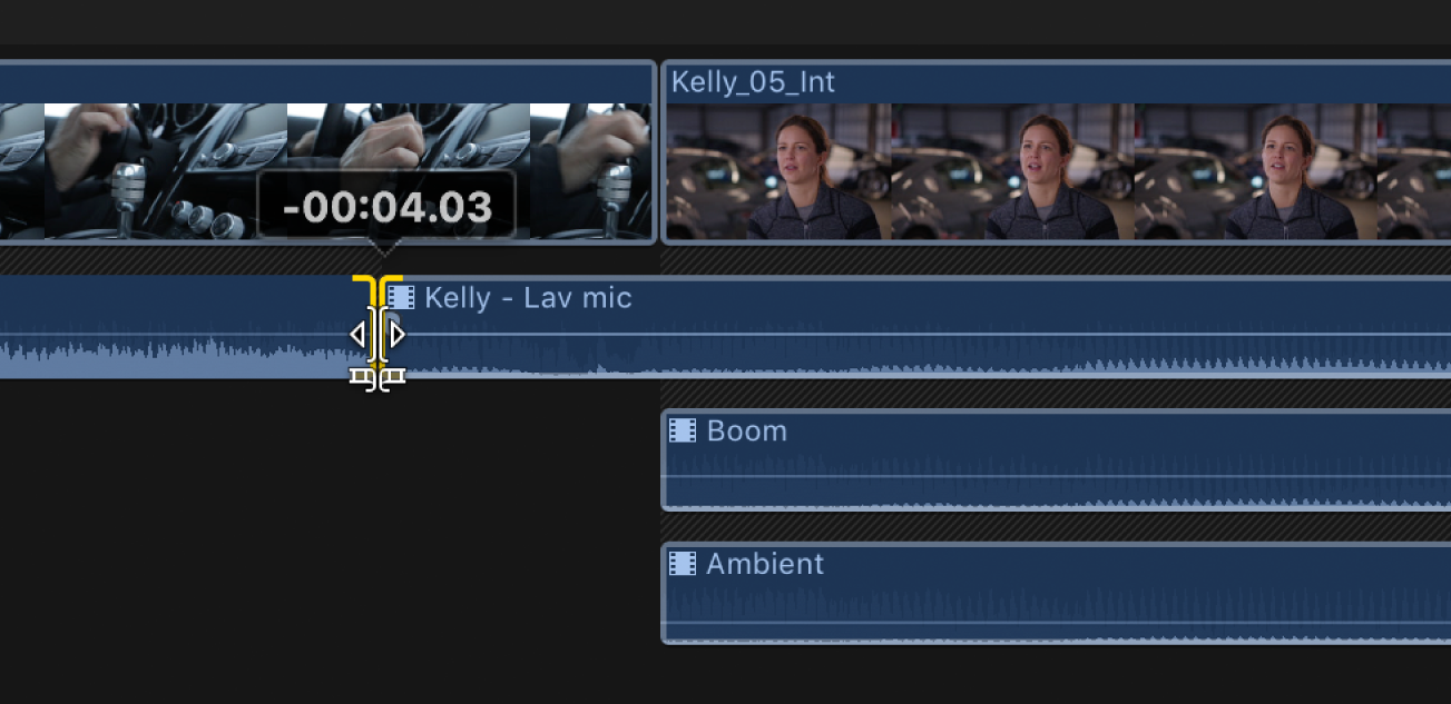 Timeline showing edit point between the adjacent audio components being dragged to the left