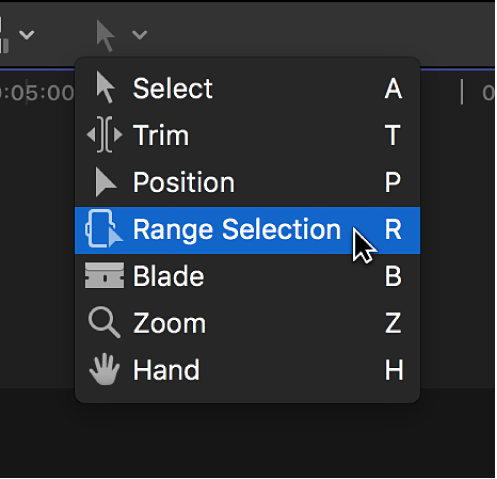 The Range Selection tool in the Tools pop-up menu