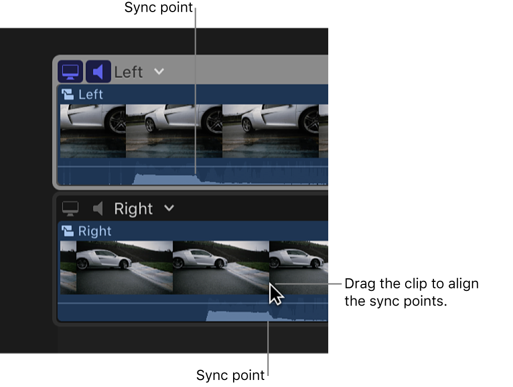 Two clips in the angle editor. One is being dragged so that sync points align.