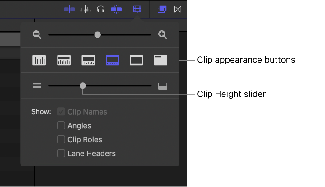 The clip appearance controls