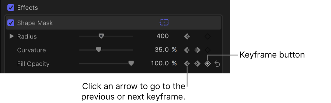 Keyframe controls in the Shape Mask section of the Video inspector