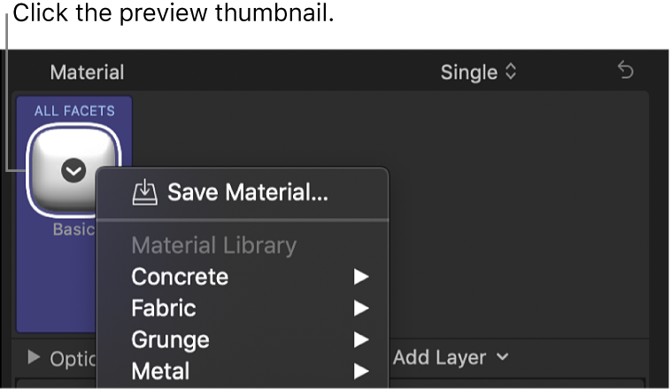 The 3D Text section of the Text inspector, showing the material presets pop-up menu