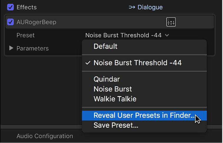 The Effects section of the Audio inspector showing the Reveal User Presets in Finder option in the Preset pop-up menu