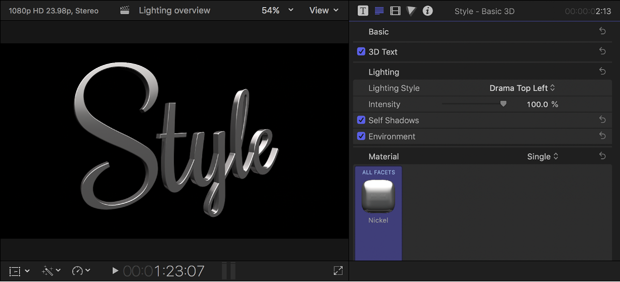 A 3D title in the viewer, with preset lighting style settings shown in the Text inspector