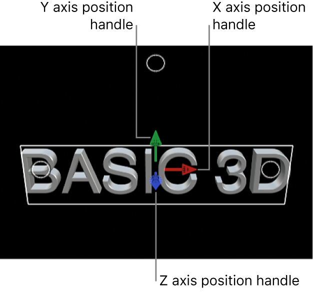 A 3D title in the viewer, with position handles for the X, Y, and Z axes