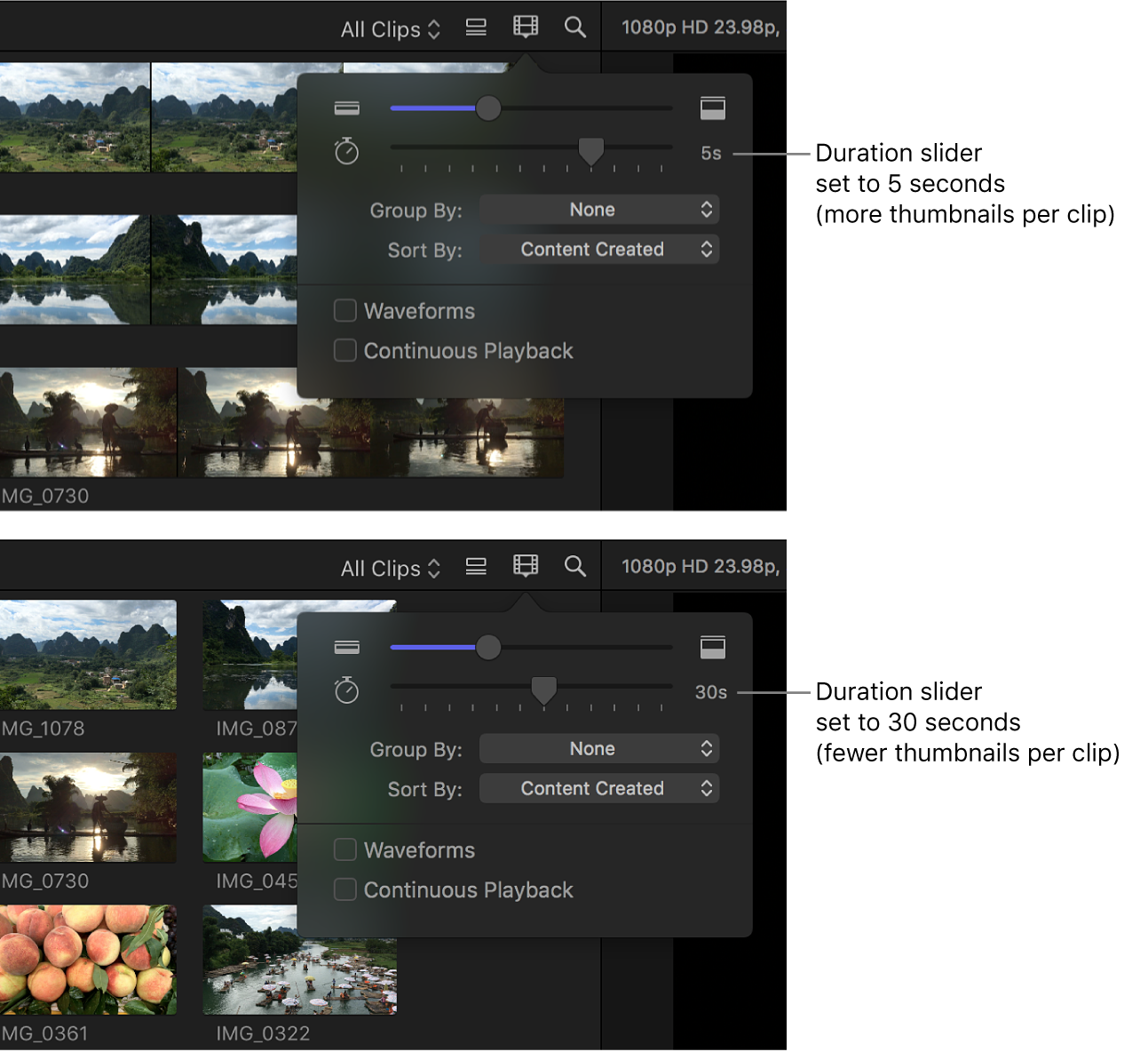 A comparison of the visual length of filmstrips in the browser when the Duration slider is set to 5 seconds and 30 seconds
