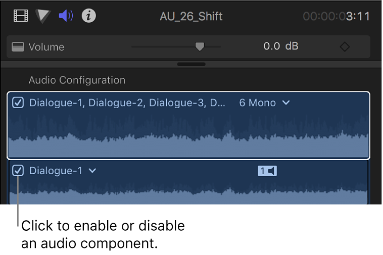 The Audio Configuration section of the Audio inspector showing checkboxes for enabling and disabling audio components