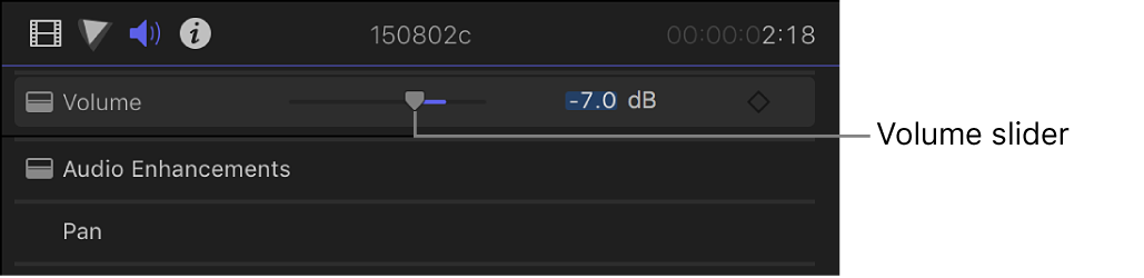 The Volume slider in the Volume and Pan section of the Audio inspector