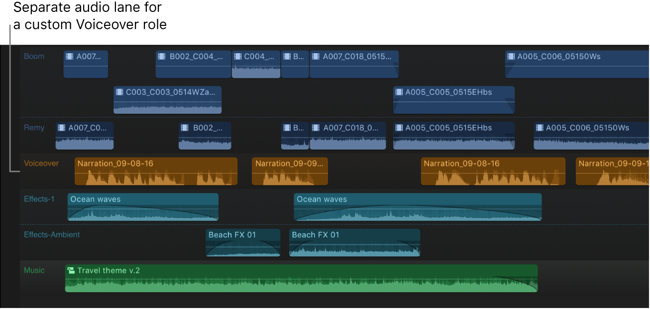 The timeline showing default roles and a custom Voiceover role