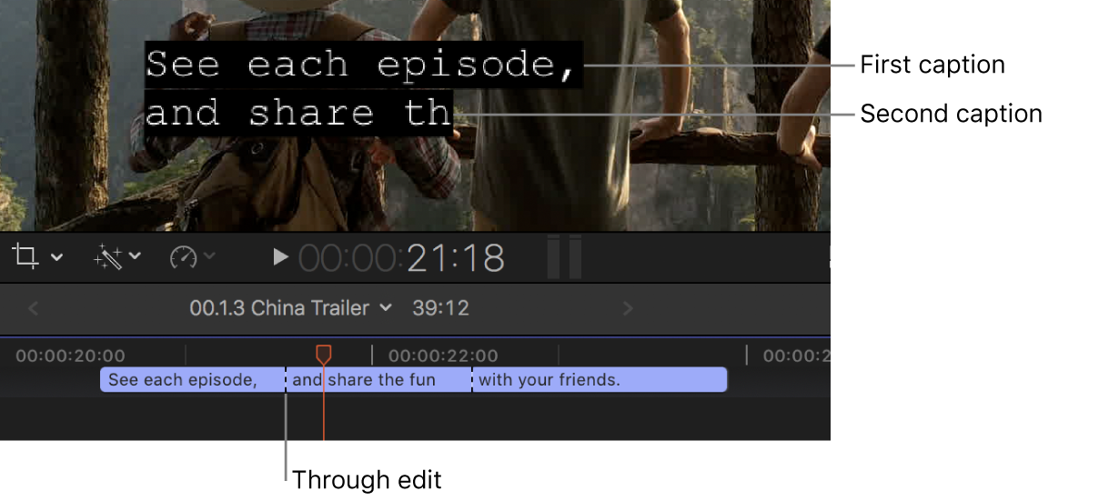 The timeline showing abutting Roll-Up caption clips with through edits between them, and the viewer showing the first caption and part of the second