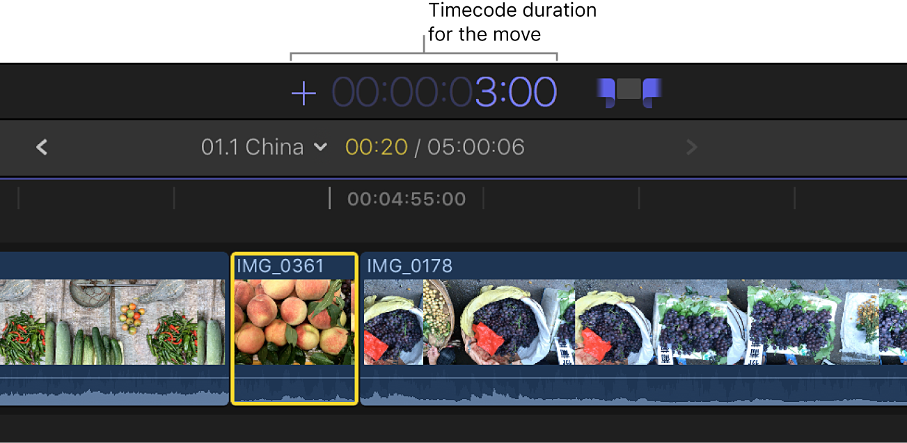 The timecode display showing an entered timecode duration