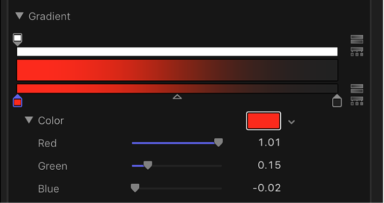 Red, Green, and Blue color channel sliders in the gradient controls