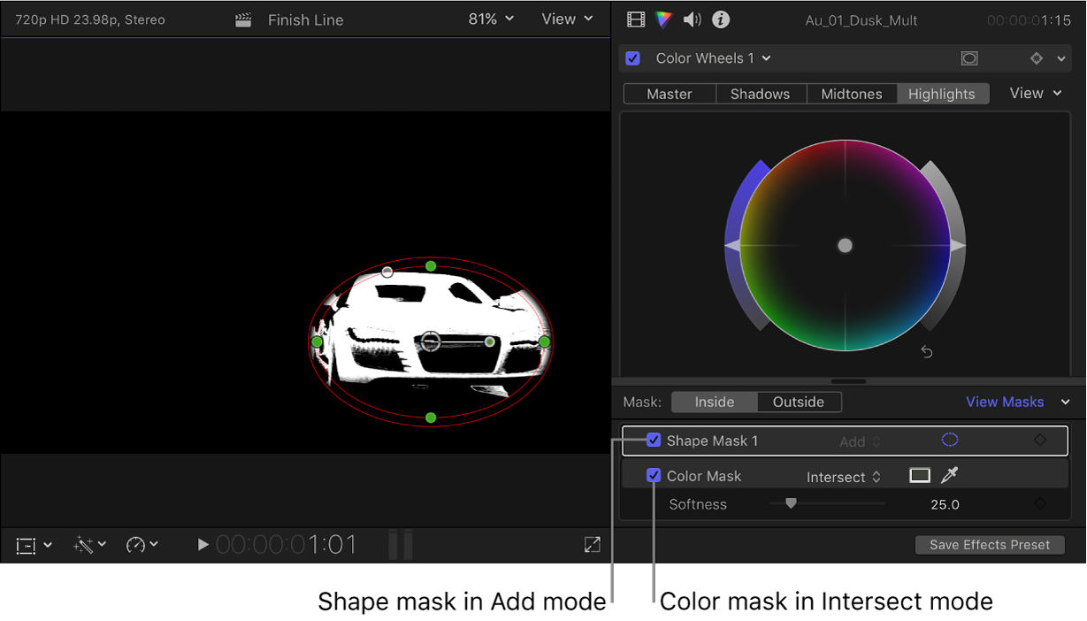 The viewer showing one car isolated by the two masks, and the Color inspector showing mask settings