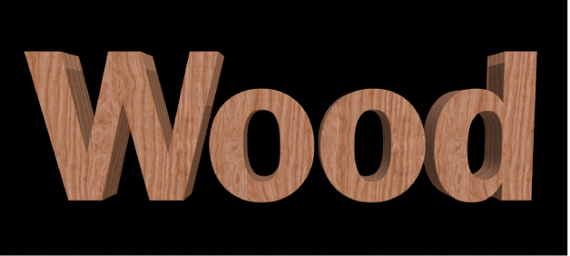 3D text in the viewer with the Wood substance applied