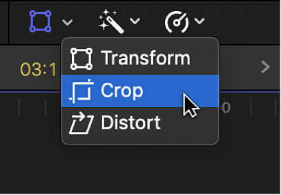 The Crop menu item for accessing the Trim, Crop, and Ken Burns controls