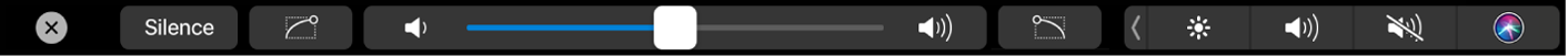 The Touch Bar showing audio controls