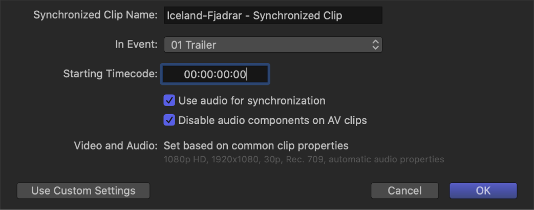 The automatic settings for syncing clips