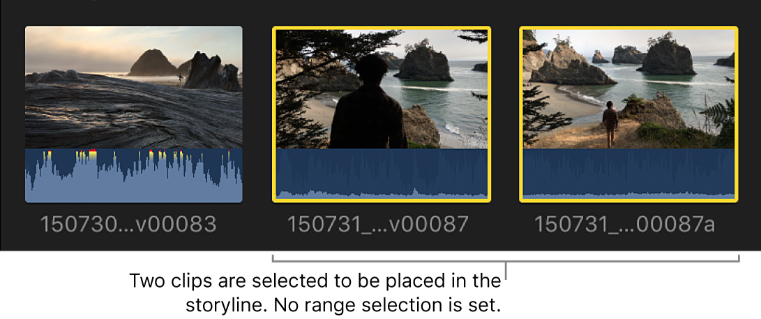 Two clips shown selected in the browser