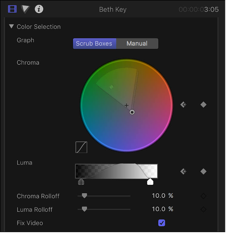 The Color Selection controls in the Video inspector