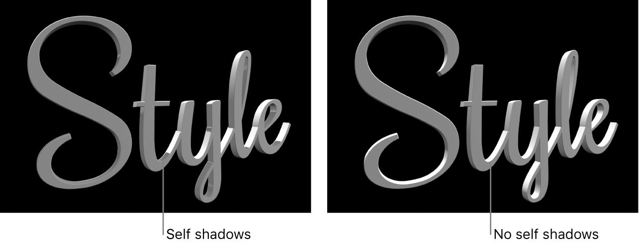 """Un título 3D en el visor con """"Sombras propias"""" activado y desactivado"""