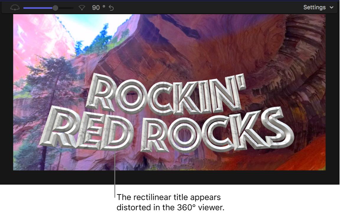 Un título rectilíneo mostrado con distorsión en el visor de 360º