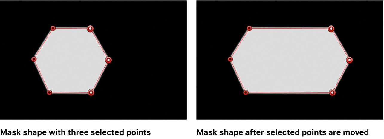 Visor con una figura de máscara antes y después de que se trasladen tres puntos de control a la derecha